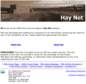 the old Hay Net home page - have hay, need hay